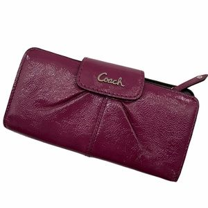Coach Ashley Patent Leather Wallet in Plum